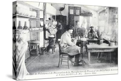 Postcard Depicting Artisans at Work Making Delphin Massier Art Pottery in Vallauris--Stretched Canvas Print