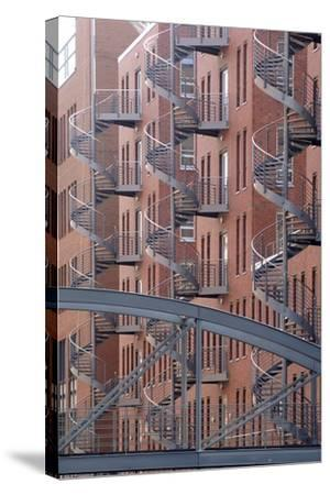 Spiral Staircases on Facades of Some Former Warehouses Destined for Repurposing--Stretched Canvas Print