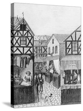 Shops in an Apothecary's Street: Barber--Stretched Canvas Print