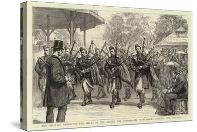 The Military Exhibition, the Pipers of the Argyle and Sutherland Highlanders Parading the Grounds--Stretched Canvas Print