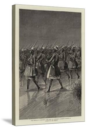 The French in Dahomey, the King of Dahomey's Amazons Crossing a Swamp on the March--Stretched Canvas Print