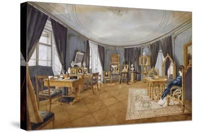 Biedermeier Style Blue Circular Hall, Circa 1841, Watercolor, Austria, 19th Century--Stretched Canvas Print