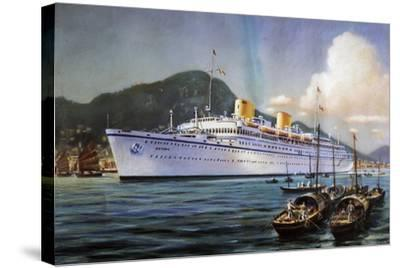 Victoria Motor Ship in Hong Kong Harbor, Pastel on Paper, by Paul Klodic, 20th Century--Stretched Canvas Print