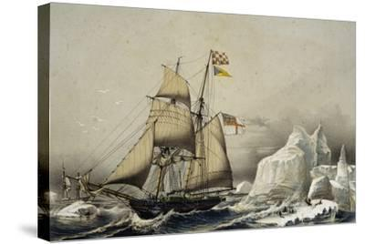 English Barquentine Schooner Rounding Quay, Colour Lithograph by Louis Lebreton, 19th Century--Stretched Canvas Print