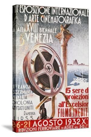 Poster for First Venice Film Festival for 18th Biennial of Venice, 1932, Italy, 20th Century--Stretched Canvas Print