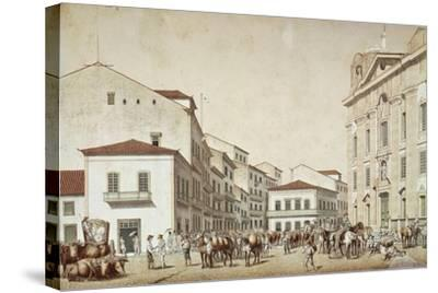 Boa Vista Square in Recife, from Souvenir of Pernabuco, by F. Kaus, 1850--Stretched Canvas Print