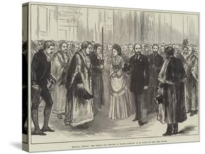 Hospital Sunday, the Prince and Princess of Wales Received at St Paul's by the Lord Mayor--Stretched Canvas Print