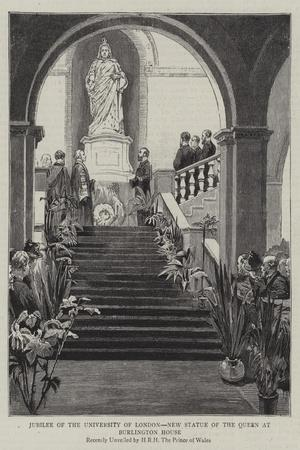 Jubilee of the University of London, New Statue of the Queen at Burlington House--Stretched Canvas Print