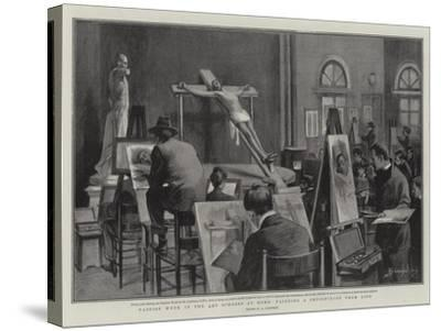 Passion Week in the Art Schools at Rome, Painting a Crucifixion from Life--Stretched Canvas Print