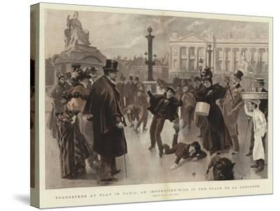 Youngsters at Play in Paris, an Improvised Rink in the Place De La Concorde--Stretched Canvas Print