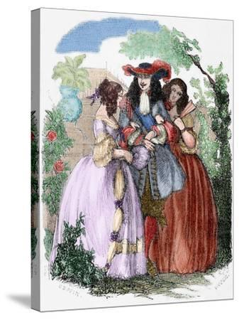 The Young King Strolling with the Mancini Sisters, Nieces of Cardinal Mazarin--Stretched Canvas Print