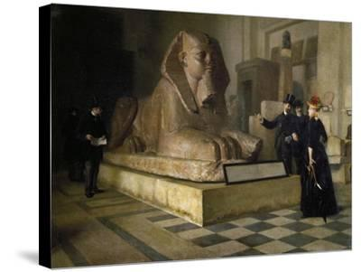Egyptian Room of Louvre and Great Sphinx, by Guillaume Larue (1851-1935)--Stretched Canvas Print