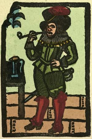 Illustration of English Tales Folk Tales and Ballads. a Man Smoking a Pipe--Stretched Canvas Print