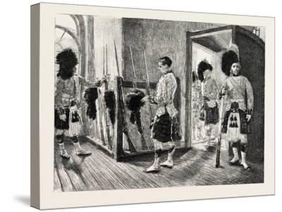 Men Of' the Black Watch in the Guard-Room, Dublin Castle Ireland, 1888--Stretched Canvas Print