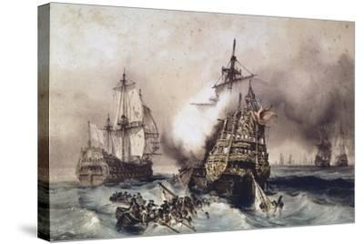 Fire on English Liner Devonshire, Blown Up in Battle, September 21, 1707, England, UK, 18th Century--Stretched Canvas Print