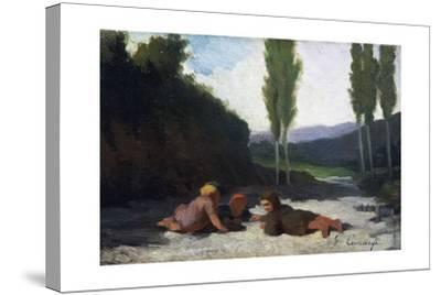 Children Playing in the River or Children Playing Outdoors, by Giuseppe Ciaranfi (1838-1908)--Stretched Canvas Print