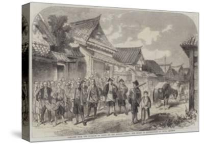 Sketches from the Interior of Japan, Our Escort of Matchlockmen at Omura--Stretched Canvas Print