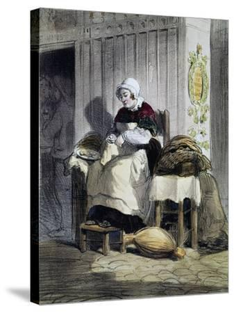 Woman Opening Oysters (Ecailliere), Print from the Women of Paris Series, France, 19th Century--Stretched Canvas Print