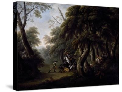 Wild Boar Hunting, End of 18th Century, Painting by Unknown Neapolitan Artist--Stretched Canvas Print