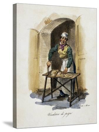 Pizza Seller, 1825, by Gaetano Dura (1805-1878), Lithograph, Italy, 19th Century--Stretched Canvas Print