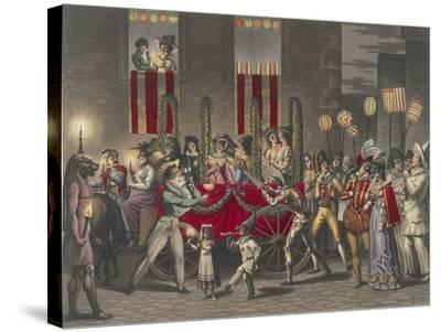 Carnival in Rome, Festival of the Moccoletti (Tapers), Italy, 19th Century--Stretched Canvas Print