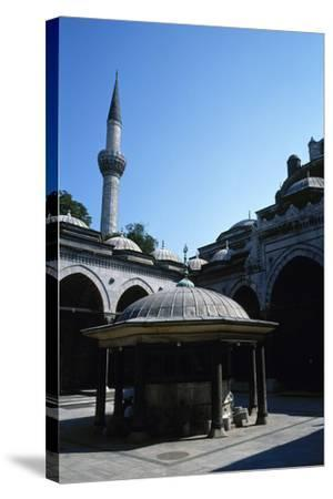 Turkey. Istanbul. Bayezid II Mosque. Ottoman Style. 16th Century. Courtyard and Ablution Fountain--Stretched Canvas Print