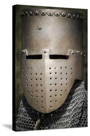 Historical Reenactment: Medieval Knight with Great Helm and Chain Mail, 13th Century--Stretched Canvas Print