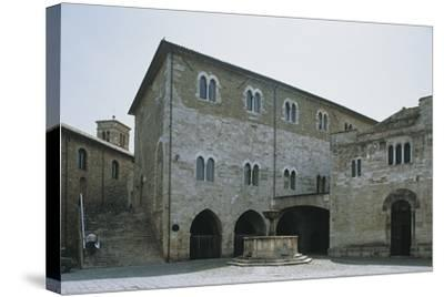 Low Angle View of a Building, Silvestri Square, Bevagna, Perugia Province, Umbria, Italy--Stretched Canvas Print