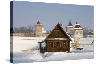 Isba, Traditional Wooden House Near the Convent of the Intercession in Suzdal, Golden Ring, Russia--Stretched Canvas Print
