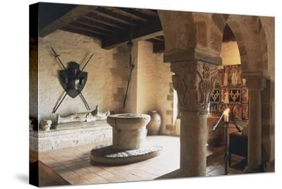 Guardroom of Chateau of Busseol, Founded in 12th Century, Auvergne, France--Stretched Canvas Print
