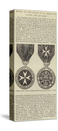 Medal of the Order of St John for Saving Life on Land--Stretched Canvas Print