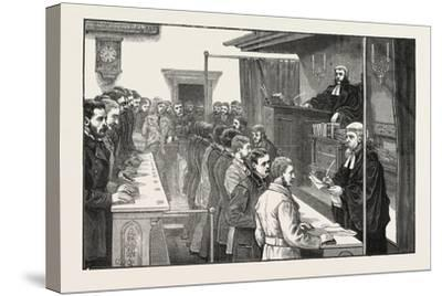 Swearing in Solicitors before the Master of the Rolls, 1876, UK--Stretched Canvas Print