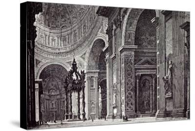 Rome Italy 1875 Interior of St. Peter's View Taken from Left Transept--Stretched Canvas Print