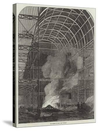 The Great Exhibition Building, the Transept by Night, the Bonfire--Stretched Canvas Print