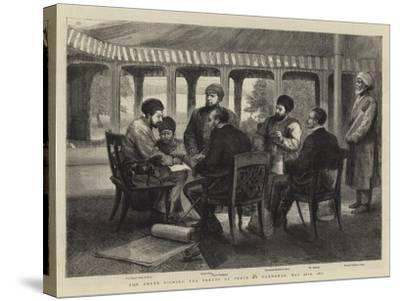 The Ameer Signing the Treaty of Peace at Gandamak, 26 May 1879--Stretched Canvas Print