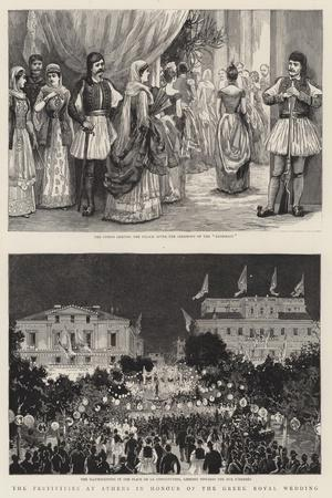 The Festivities at Athens in Honour of the Greek Royal Wedding--Stretched Canvas Print