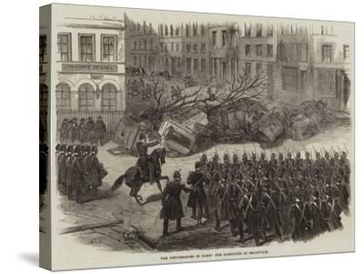 The Disturbances in Paris, the Barricade at Belleville--Stretched Canvas Print
