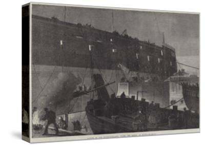 Launch of the Northumberland, Fixing the Camels at Night--Stretched Canvas Print