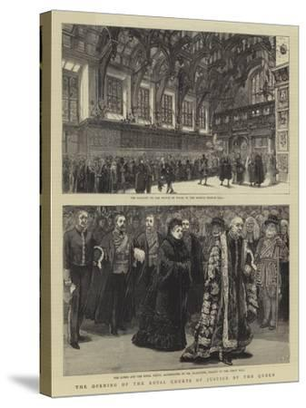The Opening of the Royal Courts of Justice by the Queen--Stretched Canvas Print