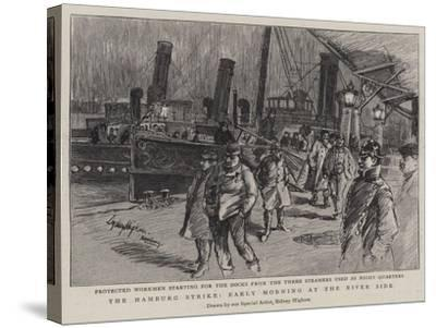 The Hamburg Strike, Early Morning at the River Side--Stretched Canvas Print