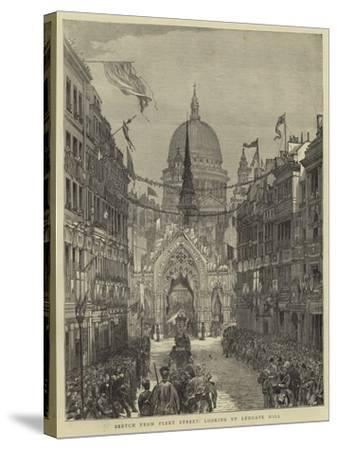 Sketch from Fleet Street, Looking Up Ludgate Hill--Stretched Canvas Print