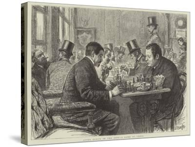 After Lunch in the City, a Game of Chess--Stretched Canvas Print