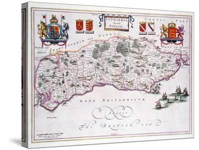 Map of Sussex--Stretched Canvas Print