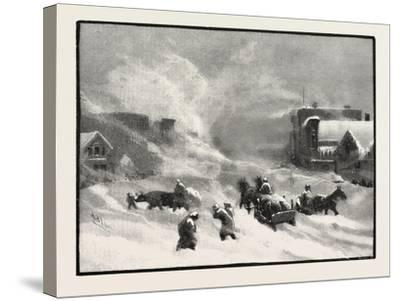 A Blizzard in Winnipeg, Canada, Nineteenth Century--Stretched Canvas Print