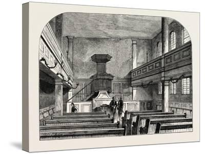 Interior of the Moravian Chapel in Fetter Lane London--Stretched Canvas Print