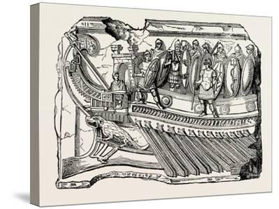 Sculpture Showing Roman War Galley--Stretched Canvas Print