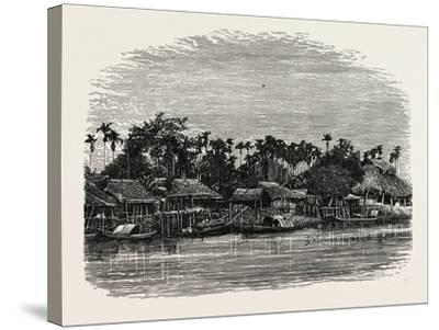 View on the Banks of the Mesap, Cambodia--Stretched Canvas Print