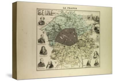Map of Seine 1896, France--Stretched Canvas Print