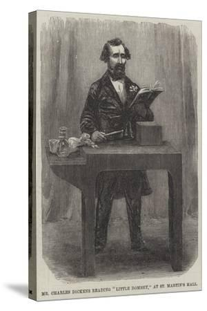 Mr Charles Dickens Reading Little Dombey, at St Martin's Hall--Stretched Canvas Print