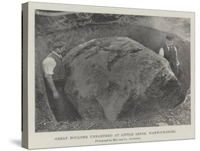 Great Boulder Unearthed at Little Leigh, Warwickshire--Stretched Canvas Print